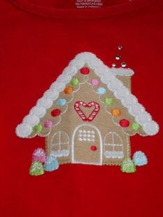 Gymboree-5-6-COZY-CUTIE-Red-Gingerbread-House-Top-Shirt-NEW