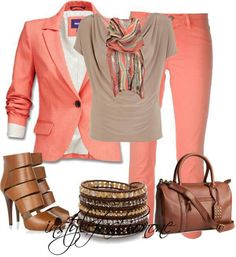 A perfect bright color work outfit. I would wear this to work to add some pep in my step. This gorgeous coral would definitely put me in a great mood.