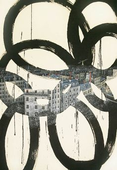 The creations of the Korean artist Jieun Park, born of the encounter between urban landscapes and traditional calligraphy. Some beautiful paintings where the ro