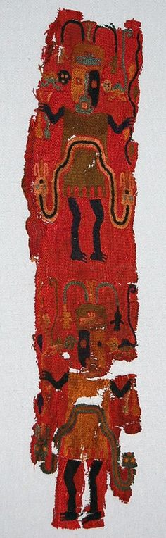 Paracas textile fragment, cotton ground cloth covered with camelid fibre stem stitch embroidery, remnant of cross-knit loop stitching down left hand...