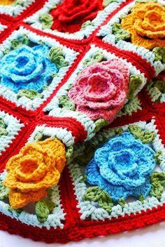 Gül motifli tığ işi battaniye
