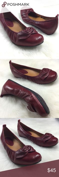 """Earthies Rubio calf leather maroon ballet flats Smooth leather upper with a unique bow adornment at the front. Slip-on design for quick and easy on and off. Naturally breathable leather lining helps feet stay dry and cool. Leather-covered insole is cushioned to provide all-day comfort and support. Reinforced arch for added support. Durable rubber outsole. Imported Maroon  Heel Height: 3⁄4"""" Earthies Shoes Flats & Loafers"""