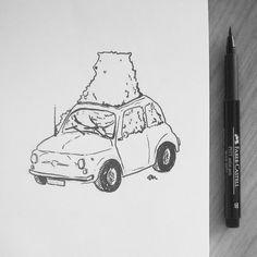 #inktober #02  by: tjasamalalan #bear #bearillustration #fiat500