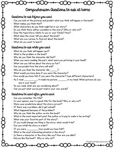 FREEBIE to hand out to your parents at parent conferences to help them ask good comprehension questions at home.Wonderful FREEBIE to hand out to your parents at parent conferences to help them ask good comprehension questions at home. Reading At Home, Guided Reading, Teaching Reading, Teaching Spanish, Learning, Teaching Ideas, Comprehension Questions, Reading Comprehension, Reading Strategies