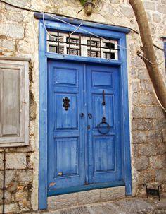 Greek Blue, Neoclassical Interior, Rustic Doors, Dark Wax, Santorini, Shutters, Chalk Paint, Tall Cabinet Storage, Beautiful Homes