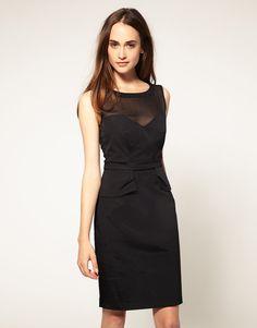Warehouse Sheer Top Peplum Shift Dress for Sale