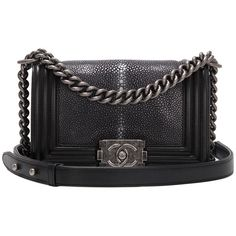 Pre-owned Chanel Black Stingray Small Boy Bag ($7,600) ❤ liked on Polyvore featuring bags, handbags, shoulder bags, purses, chanel, handbags and purses, structured shoulder bags, genuine leather handbags, black leather purse e genuine leather purse