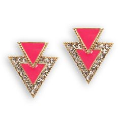 Carol, Inc. Juniors Double Triangle Rhinestone Earrings #VonMaur #GoldandCoral