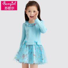 2016童装春秋装新款女童5连衣裙6女孩长袖7时尚8蕾丝公主裙子9岁