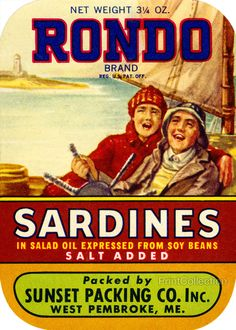 Rondo Sardines Salt Added. Net Weight 3 1/4 OZ. In salad oil expressed from soy beans. Packed by Sunset Packing Co. Inc. West Pembroke, ME.