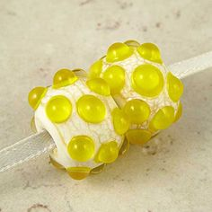 Yellow Raised Dots Lampwork Glass Bead Pair in by SpawnOfFlame (Craft Supplies & Tools, Jewelry & Beading Supplies, Beads, Kiln Annealed, Clevelandteam, Sra Handmade, Jewelry Supplies, On Fire Team, Glass Bead Pair, Lampwork Glass Beads, Cream White Crackle, Lemon Drop Yellow, Canary Citrine Sun, Champagne Goldenod, Straw Sulphur)