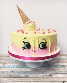 "A Shopkins - Ice Cream Kate Cake with white chocolate for melting ""ice cream"""