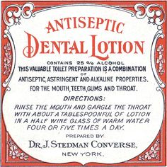 Antiseptic Dental Lotion Dr. J. Stedman Converse New York