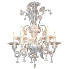Superb Venetian Clear Glass Chandelier | From a unique collection of antique and modern chandeliers and pendants  at https://www.1stdibs.com/furniture/lighting/chandeliers-pendant-lights/