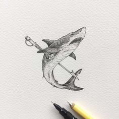 Creative artist Kerby Rosanes, an illustrator based in Manila, Philippines. Kerby Rosanes uses ink primarily in their drawings. For more drawings →View Website Trippy Drawings, Cool Art Drawings, Ink Pen Drawings, Shark Illustration, Ink Illustrations, Shark Drawing, Shark Art, Pen Art, Artwork Prints
