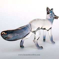 HomeDecorLive.com Fox Figurine of Hand Blown Glass