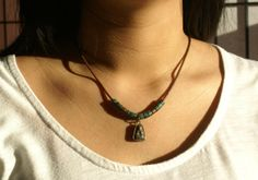 Buddha Amulet Necklace with Mykonos Greek Beads, Greek Brown leather