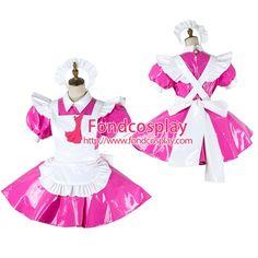 Free Shipping Lockable Sissy Maid PVC Dress Vinyl Uniform Cosplay Costume Tailor-made