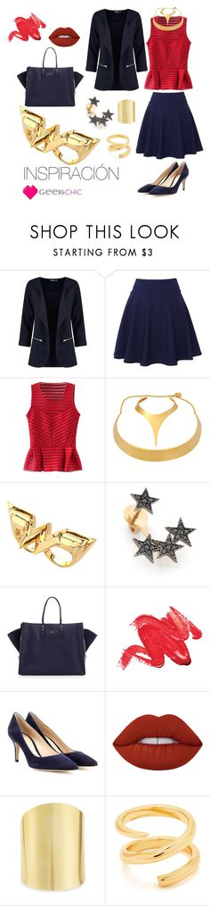 """Office Wonder Woman"" by geekandchic-rocks on Polyvore featuring moda, QNIGIRLS, WithChic, Robert Lee Morris, Noir, Kismet by Milka, Balenciaga, Gianvito Rossi, Lime Crime y Lydell NYC"