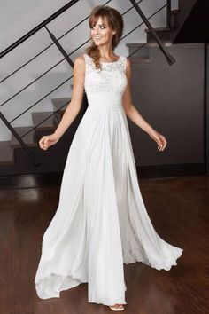 Buy Elegant A Line Scoop Chiffon Ivory Long Appliques Beach Wedding Dresses uk with Lace in uk.Shop our beautiful collection of unique and convertible long Prom dresses from jolilis,offers long bridesmaid dresses for women in the UK. Lace Styles For Wedding, Latest Wedding Gowns, Wedding Dresses Uk, Wedding Dress Chiffon, Luxury Wedding Dress, Applique Wedding Dress, Bridal Gowns, Lace Dress, Chiffon Dresses