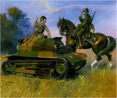 Broń pancerna II RP TKS – polski lekki czołg rozpoznawczy. Rys. Jarosław Wróbel. https://www.facebook.com/wojskopolskie19391945/photos/a.376644045867274.1073741828.376641135867565/376648219200190/?type=1