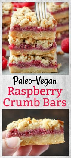 Paleo Raspberry Crumb Bars- so easy with 3 layers of deliciousness! Gluten free, dairy free, and vegan!