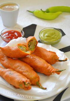 Tasty Appetite: Stuffed Milagai Bajji / Mirchi Bajji / Stuffed Mirchi Fritters :