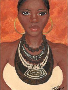 BAHIYA, African American woman,print by Miarri dene    www.facebook.com/queenakilahbthe1  •´¯`•.AKiLaH.•´¯`•  ♥ Like ♥ Share ♥ Comment ♥ Tag ♥ —
