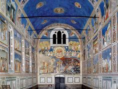 """Cappella degli Scrovegni"" by Giotto, Padova, Italia. This place is magnificent. It's worth a trip to Padova, (which is 20 minutes by train from Venice). Fresco, Padua Italy, Italy Art, Regions Of Italy, Italian Painters, Northern Italy, Kirchen, Siena, Art And Architecture"