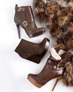 Michael Kors Mae Buckle Boot, Buckled Ankle Boot & Emory Wedge Ankle Boot - love them all Buckle Ankle Boots, Wedge Ankle Boots, Bootie Boots, Mk Boots, Crazy Shoes, Me Too Shoes, Cute Heels, Shoes Heels, Michael Kors Boots