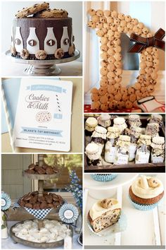cookies and milk party inspiration board. aww I want o do a milk and cookies party! Dessert Decoration, Dessert Table, Cake Decorations, Baby Boy First Birthday, 3rd Birthday, Birthday Party Themes, Birthday Ideas, Birthday Outfits, Milk Cookies