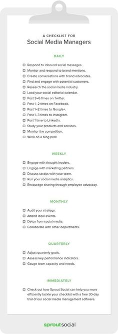 startup infographic & chart A Complete Checklist for Social Media Managers . Infographic Description A Complete Checklist for Social Media Managers Social Marketing, Marketing Mail, Marketing Online, Marketing Automation, Internet Marketing, Marketing Quotes, Business Marketing, Marketing Strategies, Affiliate Marketing