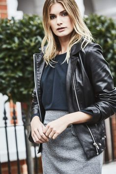 Cali Top tucked into the Colette Mini skirt in silver.   Topped off with a favourite leather jacket.