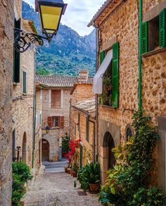 Stone streets in Fornalutx, Mallorca