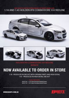 Biante 1:18 scale Holden VFII SSV Redline in Nitrate Silver. Model features opening doors, boot and bonnet to reveal detailed engine. Comes with certificate of authenticity. This model is due 4th quarter of 2021. Redline, Heron, Authenticity, Certificate, Diecast, Scale, Engineering, Doors, Model