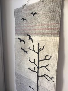 Handwoven/tapastry/wool/wallhanging/nordic/blackbirds by WifinpoofVintage on Etsy Blackbirds, Scandinavian, Color Schemes, Hand Weaving, Wedding Gifts, Vintage Items, Gallery Wall, Tapestry, Wool