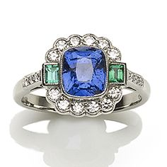Sapphire, emerald and diamond cluster ring