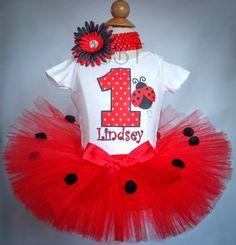 1st Birthday Ladybug Tutu Outfit Ladybug Tutu by BabyBirthdayTee