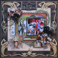 Scraps of Darkness scrapbook kits: Kathy Mosher created this fangtastic Halloween layout using our Oct. Danse Macabre kit. You can find our kits at www.scrapsofdarkness.com