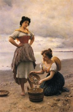 Eugene de Blaas - Gathering Shells