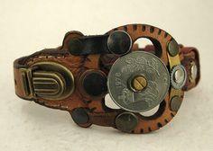 090 Steampunk Industrial Boho Bracelet Recycled Jewelry Art Deco Machine Age
