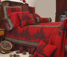 Wooded River Bear Bed Set. The perfect finishing touch for your lodge bedding theme. $520.