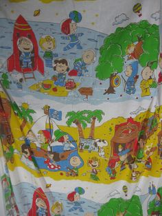 Vtg Peanut Charlie Brown Snoopy space pirate cowboy twin Fitted bed sheet Fabric