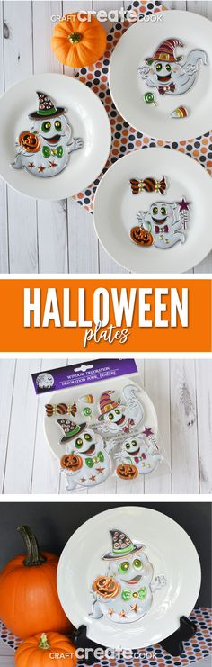 These affordable Halloween Plates will take you 2 minutes to make! via @CraftCreatCook1