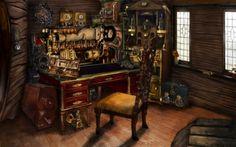 More workshop inspiration. Steampunk room by ~homasya on deviantART