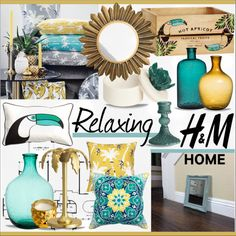 H & M Home * Turquoise & Yellow Living Room by calamity-jane-always on Polyvore featuring interior, interiors, interior design, home, home decor, interior decorating, H&M, living room, homedecor and homeset