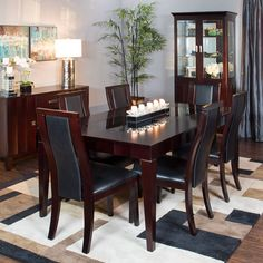 Delano 7pc Dining Set w/ Curio: Table, 6 Side Chairs & Curio | Jerome's Furniture