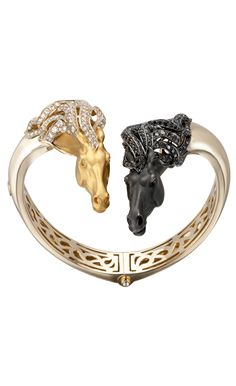 Magerit - Wild Spirit Collection: Bracelet Wild Spirit YELLOW GOLD 18KT BLACK RHODIUM AND BLACK AND WHITE DIAMONDS