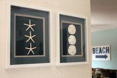 "Sand Dollar Starfish SET of 2 Beach Art White Shadow Box 12""X15"" Frame Beach Coastal Nautical Ocean Sea Shell Home House Warming Gift Decor"