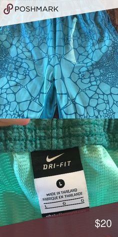 Nike youth shorts Nike youth shorts dark teal and a lighter teal. In great condition Nike Bottoms Shorts
